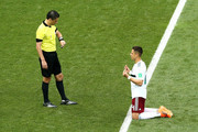 Javier Hernandez of Mexico prays prior to during the 2018 FIFA World Cup Russia group F match between Korea Republic and Mexico at Rostov Arena on June 23, 2018 in Rostov-on-Don, Russia.