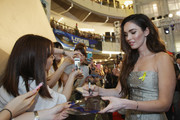 Actress Megan Fox signs autographs for the fans at the Premiere of Paramount Pictures' 'TEENAGE MUTANT NINJA TURTLES' at CGV Yeoido, on August 26, 2014 in Seoul, South Korea.