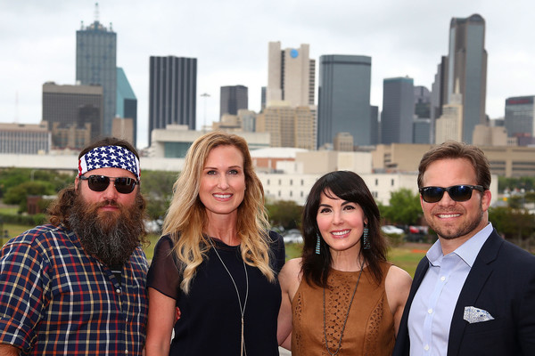 Texas Motor Speedway Media Day [duck dynasty,people,social group,daytime,facial hair,tourism,city,human settlement,urban area,eyewear,fun,willie korie robertson,marcus,cassi smith,dallas,texas,gilley,texas motor speedway media,a e]