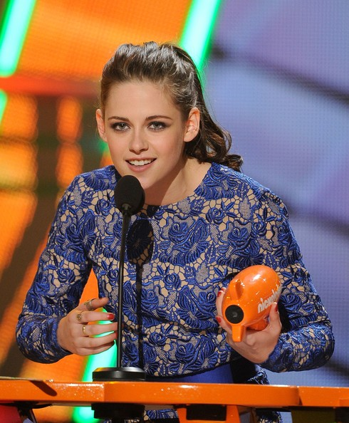 Kristen Stewart Actress Kristen Stewart accepts the award for Favorite Movie Actress onstage at Nickelodeon's 25th Annual Kids' Choice Awards held at Galen Center on March 31, 2012 in Los Angeles, California.
