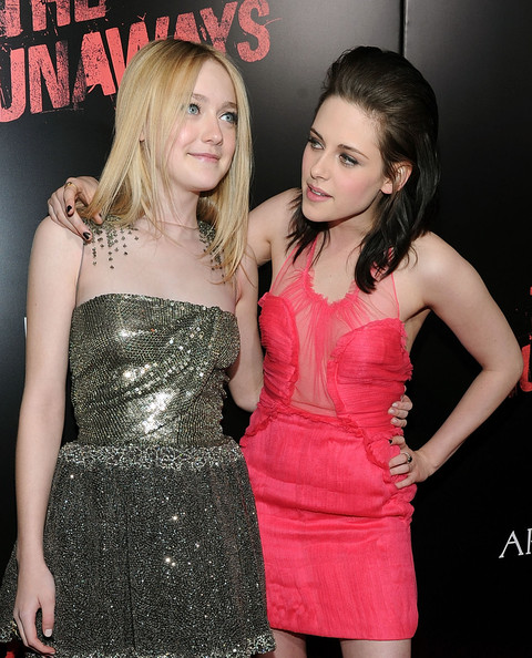 "Premiere Of Apparition's ""The Runaways"" - Arrivals [the runaways,clothing,cocktail dress,dress,pink,lady,beauty,fashion,blond,strapless dress,event,actresses,kristen stewart,dakota fanning,california,los angeles,apparition,l,premiere,premiere]"