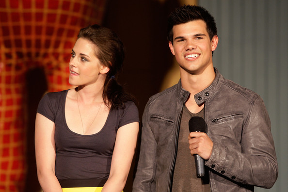 American actors Kristen Stewart and Taylor Lautner participate in a Q&A session for the upcoming release of 'The Twilight Saga: Eclipse' at Luna Park on May 31, 2010 in Sydney, Australia.