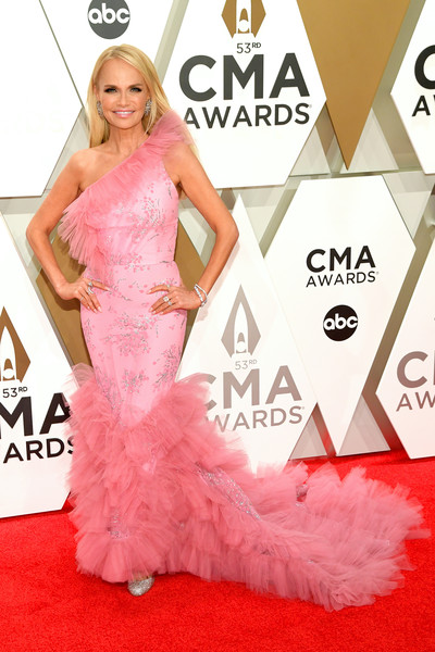 The 53rd Annual CMA Awards - Arrivals [red carpet,dress,carpet,clothing,gown,pink,flooring,fashion,fashion model,shoulder,arrivals,kristin chenoweth,cma awards,nashville,tennessee,music city center]