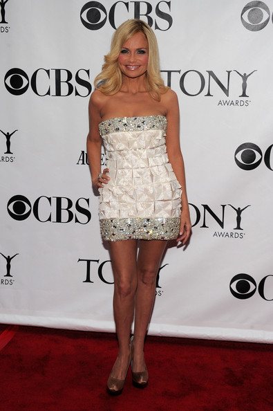64th Annual Tony Awards - Arrivals [clothing,dress,cocktail dress,shoulder,red carpet,strapless dress,carpet,hairstyle,fashion,premiere,arrivals,kristen chenoweth,tony awards,new york city,radio city music hall,64th annual tony awards]