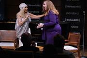 Kristin Chenoweth is interviewed by SiriusXM host Julie James before performing live on SiriusXM's On Broadway channel at Steinway Hall on September 17, 2019 in New York City.