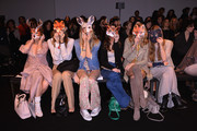 (L-R)  Elena Barolo, Alessandra Grillo, Elena Santarelli,  Valentina Scambia, Federica Fontana and Virginia Galateri attend the Kristina T Show during Milan Fashion Week Womenswear Autumn/Winter 2014 on February 20, 2014 in Milan, Italy.