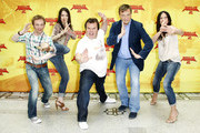 (From L-R)   Actor Ralf Schmitz, actress Cosma Shiva Hagen, actor Jack Black, actor Hape Kerkeling and actress Bettina Zimmermann attend the Photocall of 'Kung Fu Panda 2' at Hotel de Rome on June 7, 2011 in Berlin, Germany.