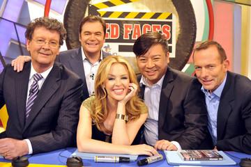 """Red Symons Kylie Minogue Arrives At """"Hey Hey It's Saturday"""""""