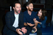 Nick Kroll, Tom Riley and Lizzy Caplan attend LA Film Festival World Premiere Gala Screening Of THE OATH on September 25, 2018 in Los Angeles, California.