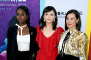 (L-R) Kirby Howell-Baptiste, Ginnifer Goodwin and Lucy Liu arrive at the premiere of CBS All Access' 'Why Women Kill' at the Wallis Annenberg Center for the Performing Arts on August 07, 2019 in Beverly Hills, California.