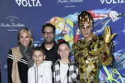 "Jason Priestley, Naomi Lowde-Priestley, Dashiell  Priestley, Ava Priestley, attends the LA Premiere Of Cirque Du Soleil's ""Volta"" at Dodger Stadium on January 21, 2020 in Los Angeles, California."