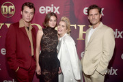 Jack Bannon, Emma Corrin, Paloma Faith and Ben Aldridge attend the premiere of Epix's 'Pennyworth' at Harmony Gold on July 24, 2019 in Los Angeles, California.