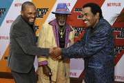 "(L-R) Mike Epps, Jimmy Lynch and Bobby Rush attend the LA premiere of Netflix's ""Dolemite Is My Name"" at Regency Village Theatre on September 28, 2019 in Westwood, California."