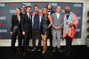 "(L-R) Shioli Kutsuna, Erik Griffin, Luis Gerardo Méndez, Adam Sandler, Jennifer Aniston, Kyle Newacheck, Dany Boon and John Kani attend the LA premiere of Netflix's ""Murder Mystery"" at Regency Village Theatre on June 10, 2019 in Westwood, California."