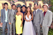 """(L-R) Jeff Wahlberg, Eugenio Derbez, Eva Longoria, Danny Trejo, Isabela Moner, Michael Peña, and Nicholas Coombe attend the LA Premiere of Paramount Pictures' """"Dora And The Lost City Of Gold"""" at Regal Cinemas L.A. Live on July 28, 2019 in Los Angeles, California."""