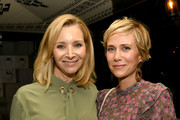 "Lisa Kudrow (L) and Kristen Wiig pose at the after party for the L.A. screening of Annapurna Pictures' ""Booksmart"" at the Ace Hotel on May 13, 2019 in Los Angeles, California."