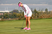 Lexi Thompson of United States plays a putt on the 6th green during the third round of the LPGA KEB Hana Bank Championship at Sky 72 Golf Club on October 13, 2018 in Incheon, South Korea.