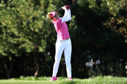 Lexi Thompson plays a tee shot on the 2nd hole during the second round of the LPGA KEB Hana Bank Championship at Sky 72 Golf Club on October 12, 2018 in Incheon, South Korea.