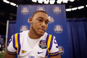 Quarterback Jordan Jefferson #9 of the Louisiana State University Tigers talks to the media at the Mercedes-Benz Superdome on January 6, 2012 in New Orleans, Louisiana.  LSU and Alabama will play in the BCS National Championship on January 9th.