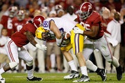 Chase Clement #88 of the LSU Tigers pulls in a reception between Nico Johnson #35 and Mark Barron #4 of the Alabama Crimson Tide during the game at Bryant-Denny Stadium on November 5, 2011 in Tuscaloosa, Alabama.