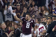Trevor Knight #8 of the Texas A&M Aggies is introduced during senior night before playing against the LSU Tigers at Kyle Field on November 24, 2016 in College Station, Texas.