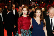 (L-R) Actress Lea Seydoux, actress Yvonne Catterfeld and actor Andre Dussollier attend the 'La belle et la bete' (Die Schoene und das Biest) premiere during 64th Berlinale International Film Festival at Berlinale Palast on February 14, 2014 in Berlin, Germany.