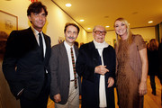 "Patrizio di Marco, Gian Luca Farinelli,  Gian Luigi Rondi and Frida Giannini attend the ""Labirinto Fellini""  press preview held at the Macro Museum on October 29, 2010 in Rome, Italy."