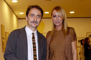 "Gian Luca Farinelli and Frida Giannini attend the ""Labirinto Fellini""  press preview held at the Macro Museum on October 29, 2010 in Rome, Italy."