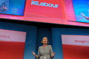Harriet Harman talks to delegates during her tribute on the first day of the Labour Party Autumn Conference on September 27, 2015 in Brighton, England. The former acting labour leader recently stepped down after 28 years on the front bench.