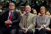 (L-R) Tom Watson and Jack Dromey applaude Harriet Harman (R) during her tribute on the first day of the Labour Party Autumn Conference on September 27, 2015 in Brighton, England. The former acting labour leader recently stepped down after 28 years on the front bench.