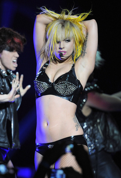 Lady Gaga performs at Staples Center with a beautiful underarm Tattoo