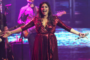"(L-R) Recording artist Hillary Scott of Lady Antebellum performs as the band kicks off its 15-show residency ""Our Kind of Vegas"" at The Pearl concert theater at Palms Casino Resort on February 8, 2019 in Las Vegas, Nevada."