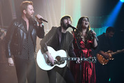 "(L-R) Recording artists Charles Kelley, Dave Haywood and Hillary Scott of Lady Antebellum perform as the band kicks off its 15-show residency ""Our Kind of Vegas"" at The Pearl concert theater at Palms Casino Resort on February 8, 2019 in Las Vegas, Nevada."