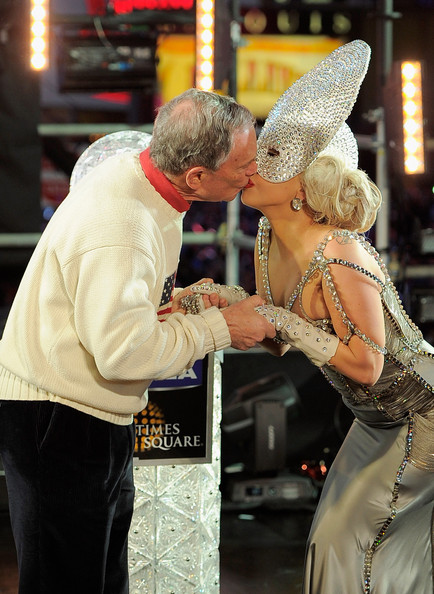 New Year's Eve 2012 In Times Square [dance,interaction,fashion,event,dress,ballroom dance,performing arts,romance,ceremony,fashion accessory,beginning,kiss,times square,new york,lady gaga,michael bloomberg]