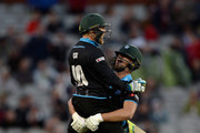 Jack Shantry of Worcestershire celebrates with Ben Cox after hits the winning six runs during the NatWest T20 Blast match between Lancashire Lighting and Worcestershire Rapids at Old Trafford on June 18, 2015 in Manchester, England.