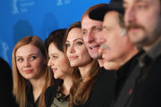 "(L-R)  Actors Alma Terzic, Vanesa Glodjo, director Angelina Jolie, actors Goran Kostic, Zana Marjanovic, Rade Srbedzija and Nikola Djuricko attend the ""In The Land Of Blood And Honey"" Photocall during day three of the 62nd Berlin International Film Festival at the Grand Hyatt on February 11, 2012 in Berlin, Germany."