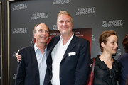 (L-R)  Herbert Knaup, Michael Souvignier and Jeanette Hain attend the 'Landauer - Der Praesident' premiere as part of Filmfest Muenchen at Gasteig at  on July 1, 2014 in Munich, Germany.