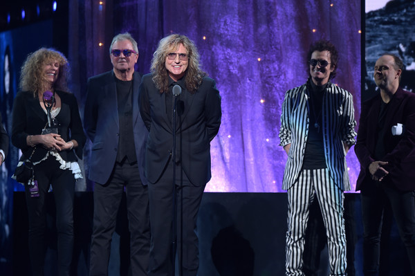 31st Annual Rock and Roll Hall of Fame Induction Ceremony - Show [performance,event,stage,performing arts,music artist,musician,musical ensemble,concert,music,lars ulrich,glenn hughes,david coverdale,ian gillan,stage,l-r,barclays center,new york city,rock and roll hall of fame induction ceremony - show]