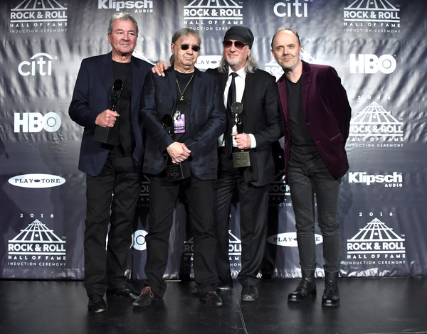 31st Annual Rock and Roll Hall of Fame Induction Ceremony - Press Room [rock and roll hall of fame induction ceremony - press room,event,award,lars ulrich,ian paice,ian gillan,roger glover,stage,l-r,press room,deep purple,metallica]