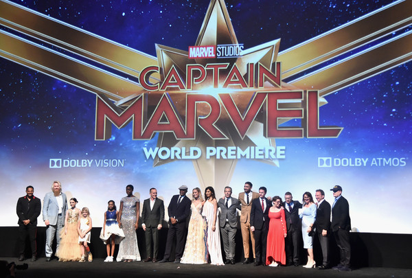 Los Angeles World Premiere Of Marvel Studios' 'Captain Marvel' [captain marvel,stage,event,performance,theatre,heater,musical,award ceremony,technology,music venue,talent show,ryan fleck,kevin feige,jonathan schwartz,actors,executive producers,london fuller,l-r,los angeles world premiere of marvel studios,los angeles world premiere]