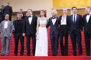 """Actor Zubin Cooper, director Sean Penn, actor Jean Reno, actress Adele Exarchopoulos, actor Hopper Penn, actress Charlize Theron, actor Jared Harris and actor Javier Bardem attend """"The Last Face"""" Premiere during the 69th annual Cannes Film Festival at the Palais des Festivals on May 20, 2016 in Cannes, France."""