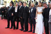 """(L-R) Actor Javier Bardem, actress Charlize Theron, actor Jean Reno, actor Jared Harris, actor Hopper Penn, actress Adele Exarchopoulos, director Sean Penn, actor Zubin Cooper and producer Matt Palmieri attend """"The Last Face"""" Premiere during the 69th annual Cannes Film Festival at the Palais des Festivals on May 20, 2016 in Cannes, France."""