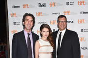 """(L-R) Composer Jason Robert Brown, actress Anna Kendrick and director Richard LaGravenese attend """"The Last Five Years"""" premiere during the 2014 Toronto International Film Festival at Ryerson Theatre on September 7, 2014 in Toronto, Canada."""