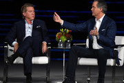 Turner Chairman and CEO John Martin (L) and Hulu CEO Randy Freer participate in a keynote panel on reimagining television at CES 2018 at Park Theater at Monte Carlo Resort and Casino in Las Vegas on January 10, 2018 in Las Vegas, Nevada. CES, the world's largest annual consumer technology trade show, runs through January 12 and features about 3,900 exhibitors showing off their latest products and services to more than 170,000 attendees.