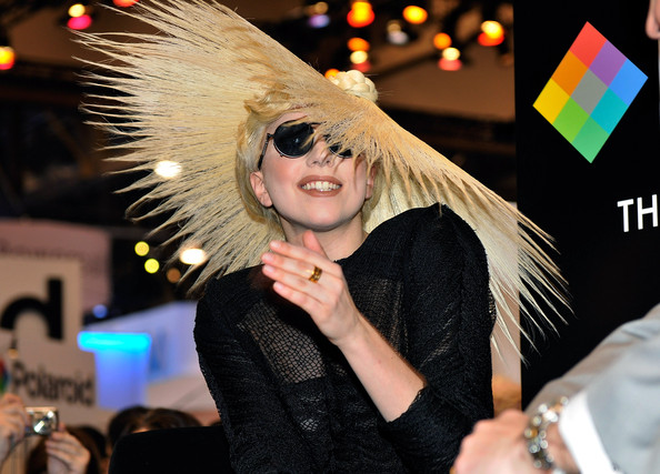 Singer Lady Gaga during an announcement of her long term partnership with Polaroid as the brand's creative director on a specialty line of imaging products at the 2010 International Consumer Electronics Show at the Las Vegas Convention Center January 7, 2010 in Las Vegas, Nevada. CES, the world's largest annual consumer technology tradeshow, runs through January 10 and is expected to feature 2,500 exhibitors showing off their latest products and services to about 110,000 attendees.