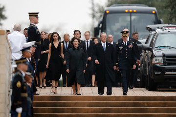 Laura Bush Family And Friends Attend A Funeral Service For Pres. George H.W. Bush In Houston