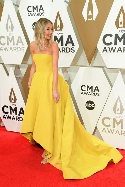 The 53rd Annual CMA Awards - Arrivals [red carpet,dress,clothing,carpet,yellow,shoulder,gown,flooring,fashion model,a-line,arrivals,lauren bushnell,cma awards,nashville,tennessee,music city center]