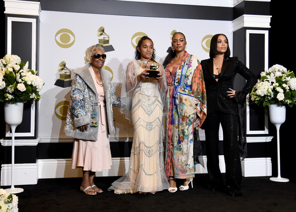 62nd Annual GRAMMY Awards - Press Room [event,fashion,ceremony,wedding,formal wear,fashion design,dress,marriage,tradition,nipsey hussle,margaret bouffe,samantha smith,emani asghedom,lauren london,l-r,room,staples center,press room,annual grammy awards,emani asghedom,staples center,nipsey hussle,lauren london,tanisha foster,grammy awards,photography,rapper,image]