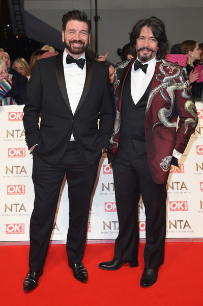 National Television Awards - Red Carpet Arrivals [red carpet,suit,carpet,formal wear,tuxedo,premiere,event,flooring,facial hair,red carpet arrivals,laurence llewelyn-bowen,nick knowles,london,united kingdom,national television awards]