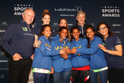 Winners of the Laureus Sport For Good Award Wumu Football team,a football based Indian charity pose with their trophy with Laureus Academy Member Missy Franklin,Kosovare Asllani, Laureus Academy Chairman Sean Fitzpatrick and Arsene Wenger with Laureus Academy Member Nawal El Moutawakel speak during the Laureus Sport For Good Award Presentation on February 17, 2019 in Monaco, Monaco.